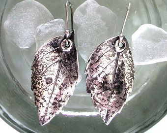 Fine Silver Turning Leaf Earrings Solid Pure (.999) Dangles