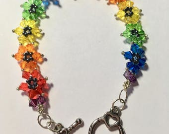 Swarovski crystal beaded rainbow flower bracelet
