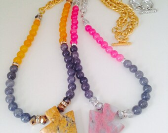 Gemstone Arrow Pendant Handmade Statement Fashion Necklace