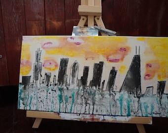Mixed Media On Canvas. My Kinda Town. 10x20
