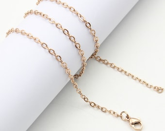 """20"""" Stainless Steel Cable Chain in Rose Gold - 20"""" Long x 2.5mm Wide - 1, 5, or 10 Finished Chains (single or bulk)"""