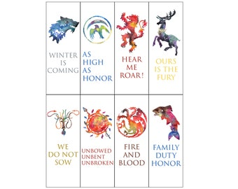 Watercolour Game of Thrones Sigil Bookmarks