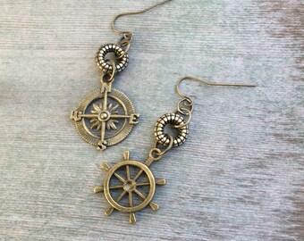 Nautical Earrings/Beach Jewelry/Mismatched Jewelry