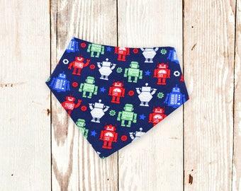 Bandana Bib (BLUE ROBOTS) baby bibdana, drool bib, bibdanna, baby bib, baby shower gift, baby bandana bib, special needs bib, baby gift