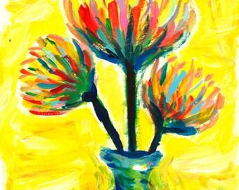 Yellow Flower Painting Original
