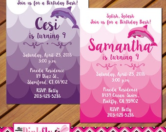 Printable pink dolphin birthday party invitation pink and dolphin birthday invitation pink dolphin purple dolphin ocean invitation filmwisefo Gallery