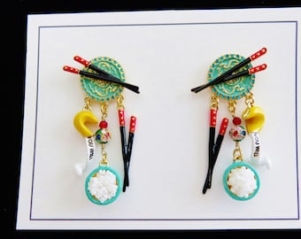 New Lunch At The Ritz Chinese Take Out Post Earrings/ Never Worn  (#7)