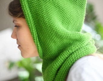 Tunisian Handmade Crochet Hooded Scarf, Hood Scarf, Infinity Scarf, Green Infinity Scarf, City Look Hooded Scarf