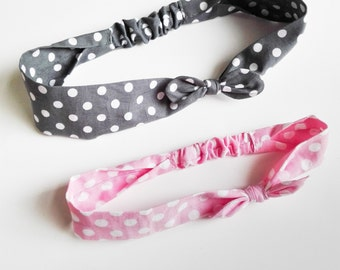 """Pair of hair bands Mom & Daughter """"Polka dots pink and grey"""""""