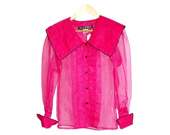 vintage diaphanous blouse - magenta Ogilvy's blouse with large pilgrim collar and pleated front in sheer see-through 1980s and 1990s