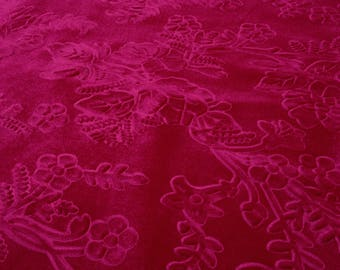 Beautiful Fuschia Floral Embossed Fabric Des.2 Sold By the Yard