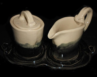 Ceramic Sugar,Creamer,Tray Set - Contemporary Four Piece Set - Sugar and Creamer/Black and White/Ceramic Pitcher- by Leslie Farin