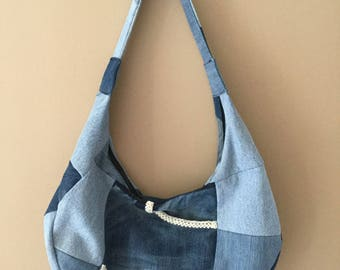 Jeans recycled patchwork Messenger bag