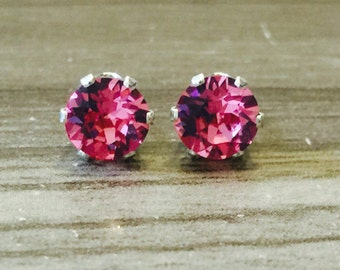 Rose Swarovski Crystal Sterling Silver Earrings