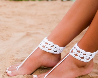 White crochet barefoot sandal Bridal shoes Foot jewelry Footless sandals Anklet Beach wedding barefoot sandals Yoga Foot thongs Nude shoes