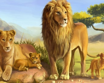 """LION FAMILY Scene  on ONE 16 square Fabric Panel to Quilt or Sew. Actual picture is approx 8"""" x 11"""" on white background."""