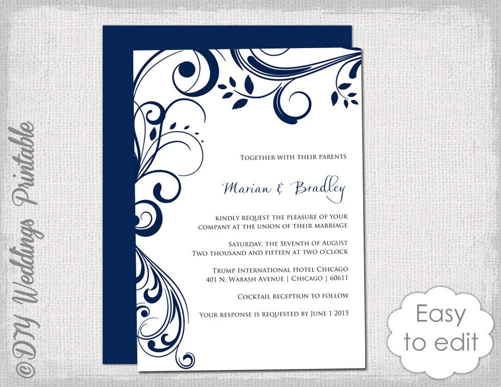 Navy Wedding Invitation Template Scroll