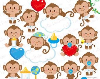 Baby Monkey Clipart, Cute Monkey Baby Boy Clipart