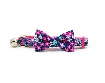 Pink and Navy Floral Cat Bow Tie Collar Iddy Biddy Tiny Flowers Cat Bowtie Breakaway Safety Cat Collar with Bell