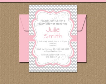 Baby Shower Invitation, Bridal Shower Invitation, Pink and Gray Chevron Invitation Printable Bridal Invitation, Gray Chevron Baby Shower BB1