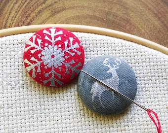 Needle Minder, Snowflake, Deer, Stag, 2 Piece Reversible Scout and Remy, Cross Stitch, Sewing, Embroidery, Gift
