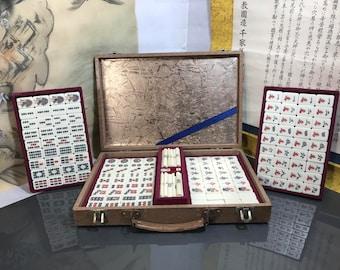 Vintage Japanese Mahjong Game Set mahjong pai  Wood Case Complete Tile made in Japan Vintage Japanese Tile Game 1960s (#232)