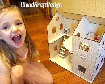 Dollhouse . Vector model for laser cut. Instant download