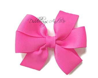 Neon Pink Hair Bow, Pink Pinwheel Bows, Girls Hair Bows, Baby Hair Bow, Piggy Tail Bows, Bows For Girls, Pink Hair Bows, Back To School Bow