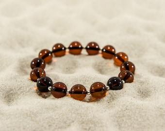 Amber bracelet, cherry round natural amber bead bracelet 4935