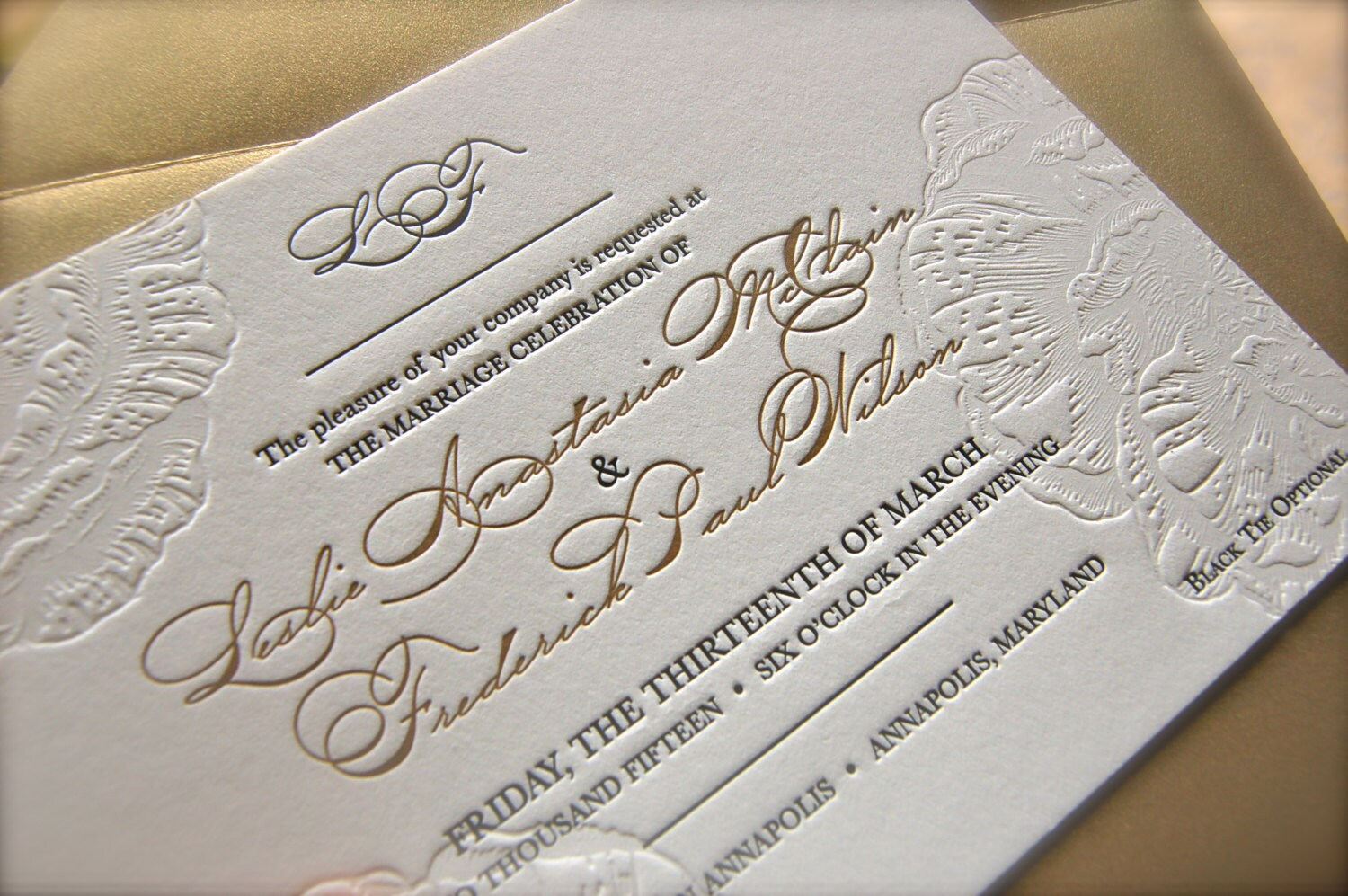 Black and Gold Letterpress Wedding Invitations Blind Emboss