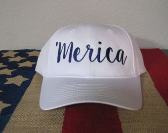 Merica twill hat, Fourth of July Hat, Patriotic Hat, Memorial Day Hat,