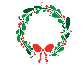 Christmas Wreath svg,dxf,png,eps,jpg,and pdf files,Christmas svg file,Wreath svg downloads,Holiday Wreath svg file