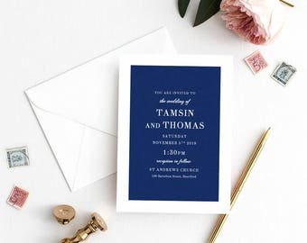 Navy Blue Wedding Invitation Template, Navy Blue Invitation, Printable Wedding Invitations | Edit in WORD or PAGES