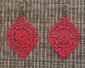 Red Hand Painted Filigree Earrings