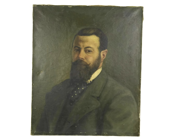 French Antique Bearded Man Portrait Oil Painting. Victorian Male Original Art on Canvas Signed G. Le Camus.
