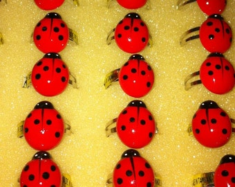 1970s Adjustable LADY BUG Novelty Ring