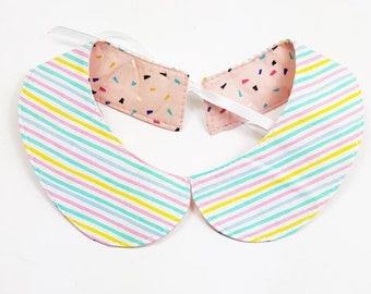 Peter Pan collar reversible striped multicolor confetti pink