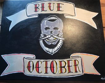 Blue October Justin Furstenfeld Original Hand Painted signed Canvas
