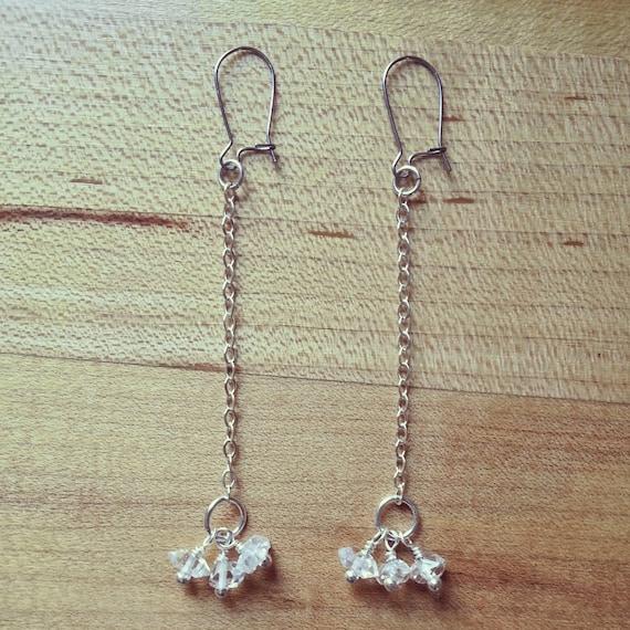 Herkimer diamond cluster silver dangle earrings