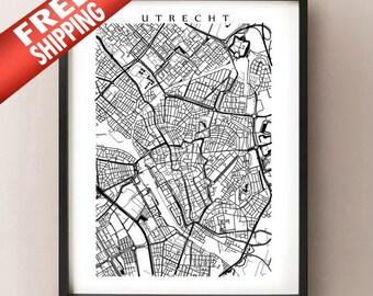 Utrecht City Map - Netherlands Art Poster Print