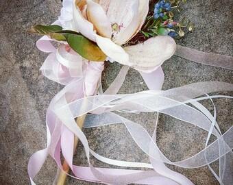 Magnolia Blush Flower Girl Wand Custom Order
