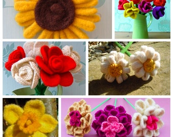 6 Knitting Patterns,  fabulous multi deal -   knit 6 different Flowers, PDF'S, home decor