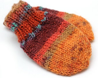Baby Mittens No String. Burnt Orange Cordless Baby Mitts No Thumbs. Infant Thumbless Hand Warmers. Striped Winter Mittens Without String