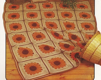 Sunflower Afghan & Pillow, Annie's Attic Crochet Pattern Leaflet 87A71