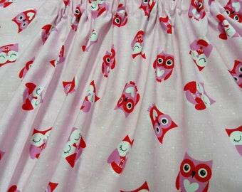 Valentine Owl Heart Window Curtain Valance