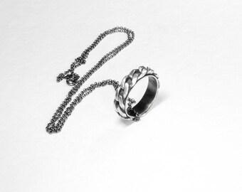 COLLAR y anillo de plata con cadena de plata, collar anillo , collar para hombre, regalo para él , plata negra , joyería para hombre,