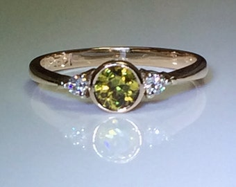 14ct Yellow Gold Dress Ring with Yellow Sapphire and Diamonds