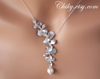 Delicate Wedding Bridal jewelry sets of Orchid Flower and cute Pearl - Lariat & Y Necklace. Elegant jewelry, You can choose  Silver or Gold