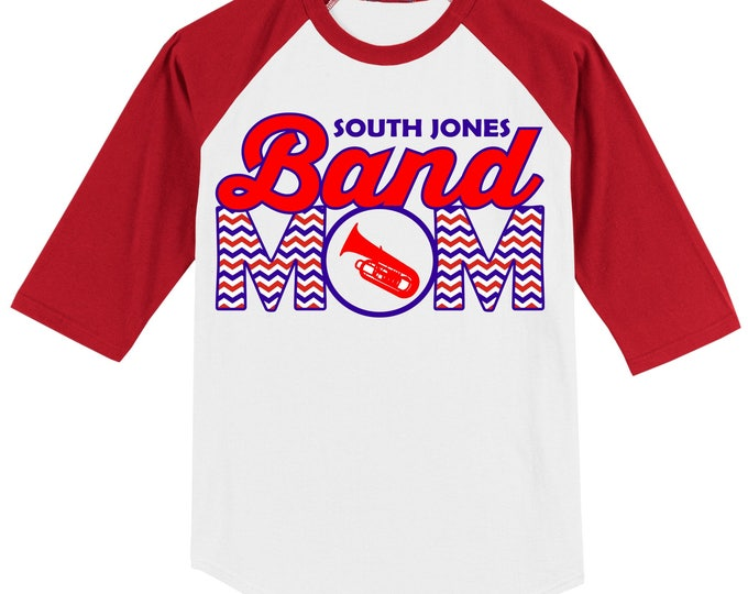 Personalized Band Mom T Shirt Raglan Your Choice of Print, Shirt Color, Team Name, and BAND INSTRUMENT of your choice