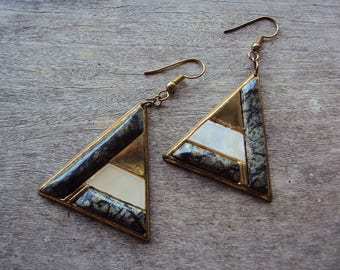 Retro triangular gold green and white geometric statement earrings